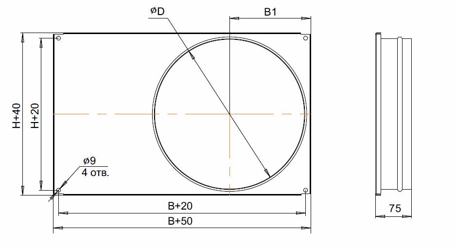 Адаптер переходной для прямоугольных каналов АП