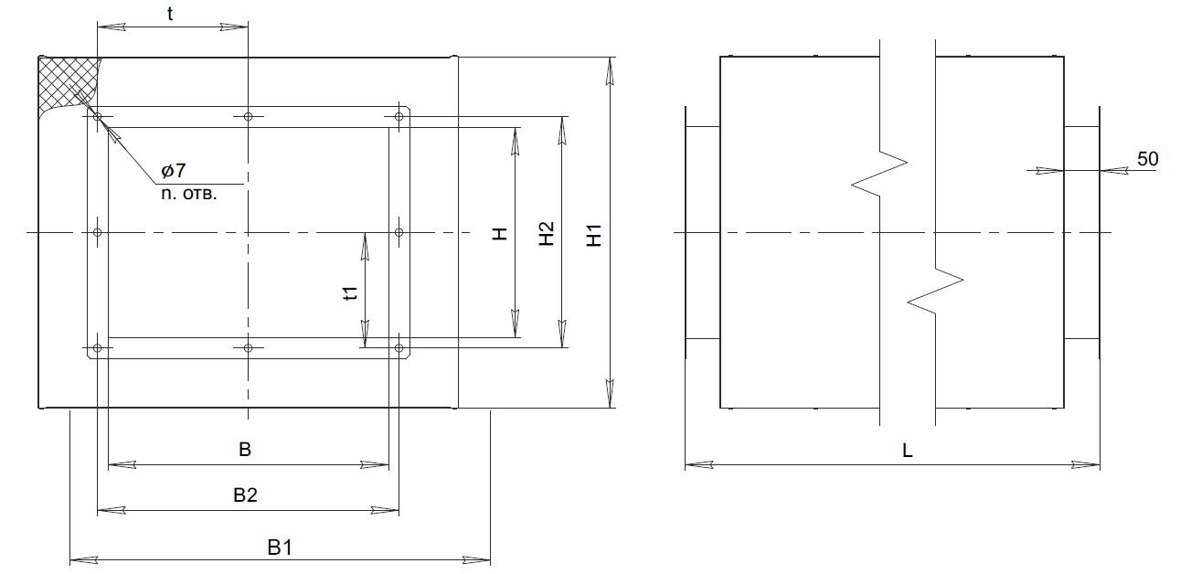 Шумоглушитель трубчатый для прямоугольных каналов