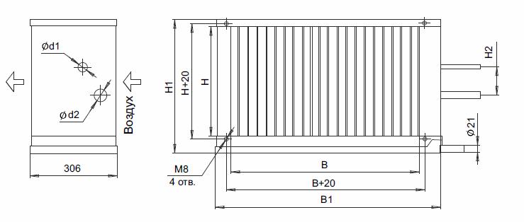 Воздухоохладитель канальный фреоновый  ВОКФ