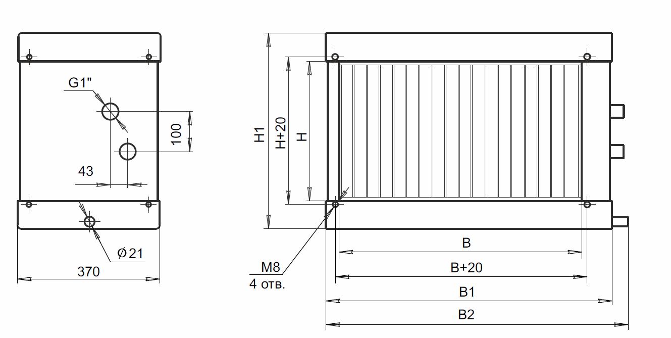 Воздухоохладитель канальный водяной ВОКВ