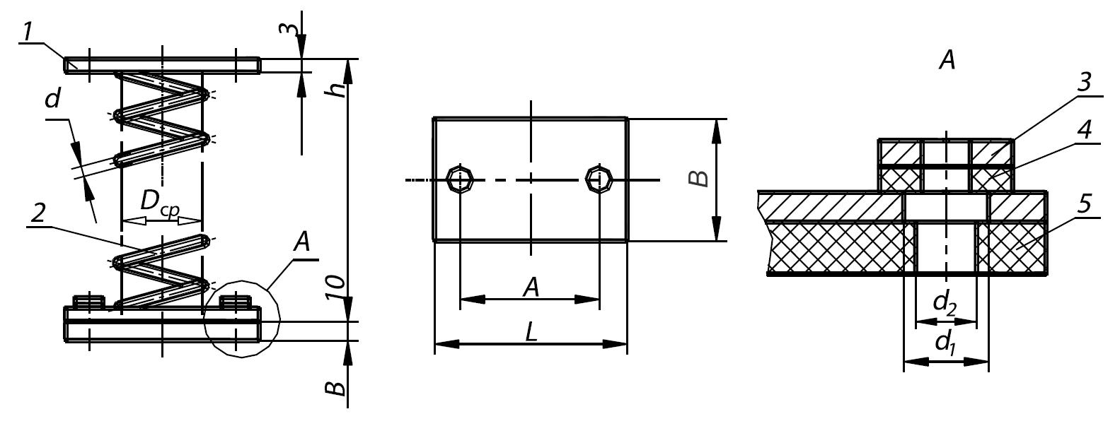 Пружинные виброизоляторы ДО